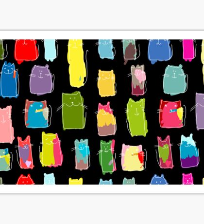 Texture with colorful cats with curved tails. Can be used for textile, website background, book cover, packaging. Sticker