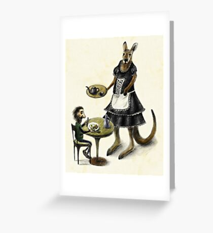Kangaroo cafe Greeting Card