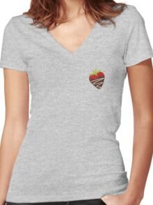 Chocolate Covered Strawberries Women's Fitted V-Neck T-Shirt