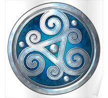 Blue Double Celtic Triskelion Poster