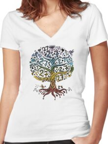 Floral tree beautiful, summer Women's Fitted V-Neck T-Shirt