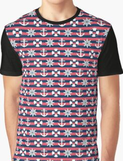 Sailor Stripes Ahoy Red Blue & White Graphic T-Shirt