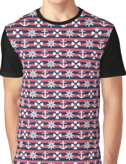Sailor Stripes Ahoy Red Blue & White Graphic T-Shirt