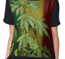 Marijuana on rastafarian flag Chiffon Top