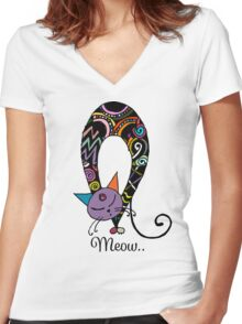 Rainbow cat silhouette collection. Black cats in various poses. Women's Fitted V-Neck T-Shirt