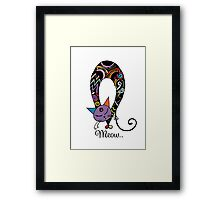 Rainbow cat silhouette collection. Black cats in various poses. Framed Print