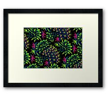 Cactus Floral - Bright Green/Pink Framed Print