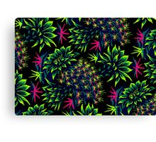 Cactus Floral - Bright Green/Pink Canvas Print