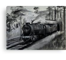 Steam Locomotive England Rail Travel Charoals Canvas Print