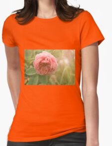 Close up photo of a pink rose Womens Fitted T-Shirt