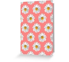 Daisies & Peaches - Daisy Pattern on Pink Greeting Card
