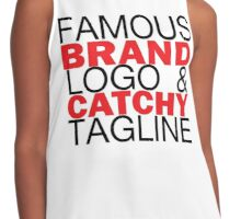 FAMOUS BRAND LOGO AND CATCHY TAGLINE Contrast Tank