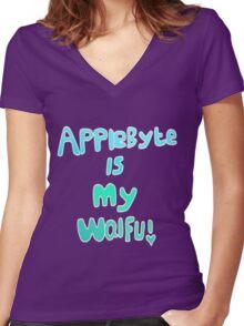Applebyte is my Waifu Women's Fitted V-Neck T-Shirt