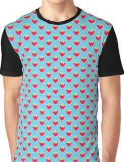 Strawberry Delight Blue Graphic T-Shirt