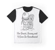 Cute girl with snowboard, sketch Graphic T-Shirt