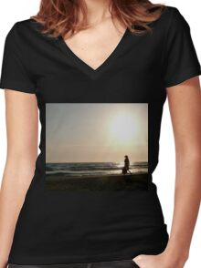 Lonely walk Women's Fitted V-Neck T-Shirt