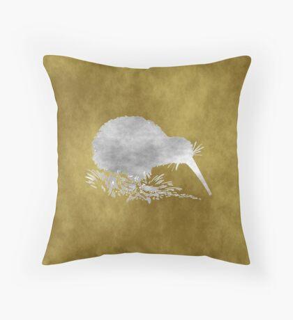 Grunge Kiwi Bird Throw Pillow