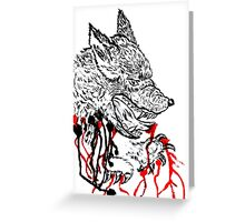 Angry Wolf Sketch Greeting Card