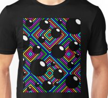 Black shiny balls and colored diamonds. Unisex T-Shirt
