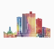 Fort Worth landmarks watercolor poster Kids Tee