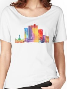 Fort Worth landmarks watercolor poster Women's Relaxed Fit T-Shirt