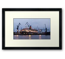 Queen Mary 2 at Hamburg Docks  Framed Print