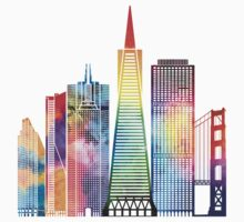 San Francisco landmarks watercolor poster Kids Tee