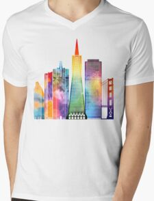 San Francisco landmarks watercolor poster Mens V-Neck T-Shirt