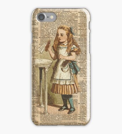 "Alice in The Wonderland ""Drink Me"" Colour Vintage Illustration Dictionary Art  iPhone Case/Skin"