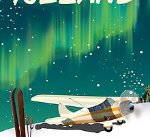 Iceland vintage style ski plane poster by Nick  Greenaway
