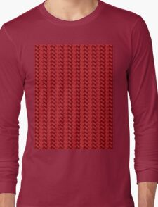 Red knitted pattern.  Long Sleeve T-Shirt