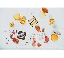 French Macaroons With Tangerine Slices On Wood Table Photographic Print