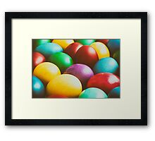 Colorful Easter Eggs In Basket Framed Print