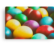 Colorful Easter Eggs In Basket Canvas Print