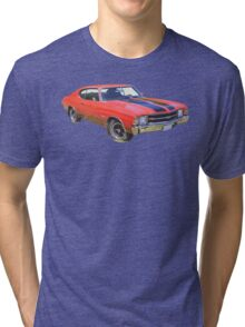 Red 1971 chevrolet Chevelle SS Muscle Car Tri-blend T-Shirt
