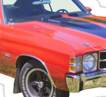 Red 1971 chevrolet Chevelle SS Muscle Car Sticker