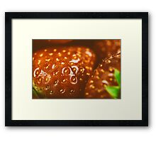 Fresh Red Strawberries Macro In Fruit Market Framed Print