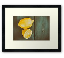 Fresh Yellow Lemons On Wooden Table Framed Print