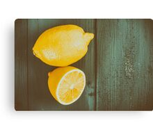 Fresh Yellow Lemons On Wooden Table Canvas Print