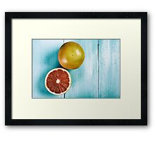 Fresh Oranges On Wood Table Framed Print
