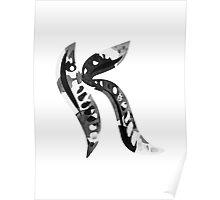 Alphabet Letter K Abstract Watercolour white Poster
