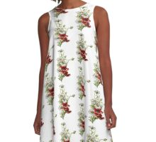 Vintage Floral Daisies and Poppies A-Line Dress