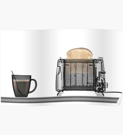 Toaster with toast and a cup of coffee under x-ray  Poster
