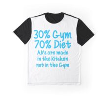 30 Percent Gym 70 Percent Diet Sky Blue Print Graphic T-Shirt