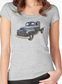 1950 Chevrolet Flat Bed Antique Pickup Truck Women's Fitted Scoop T-Shirt
