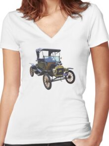 1914 Model T Ford Antique Car Women's Fitted V-Neck T-Shirt