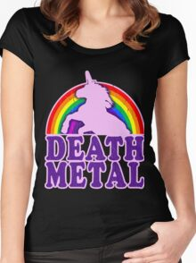 FUNNY DEATH METAL UNICORN RAINBOW Women's Fitted Scoop T-Shirt