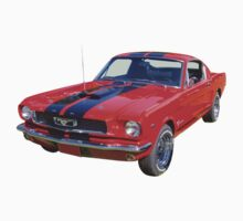 Red 1966 Ford Mustang Fastback One Piece - Long Sleeve