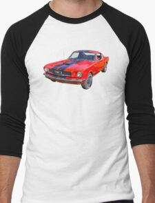 Red 1966 Ford Mustang Fastback Men's Baseball ¾ T-Shirt
