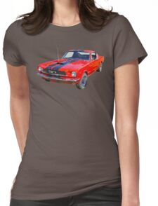 Red 1966 Ford Mustang Fastback Womens Fitted T-Shirt